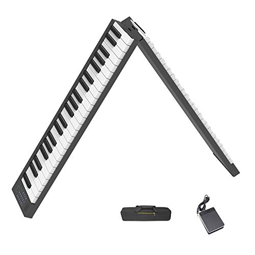 88-Key Foldable Keyboard Piano, Veetop Beginner Digital Piano with Bluetooth, MIDI, Rechargeable Battery, Sustain Pedal, Portable Carrying Bag, Professional Electric Piano for Kids, Adults