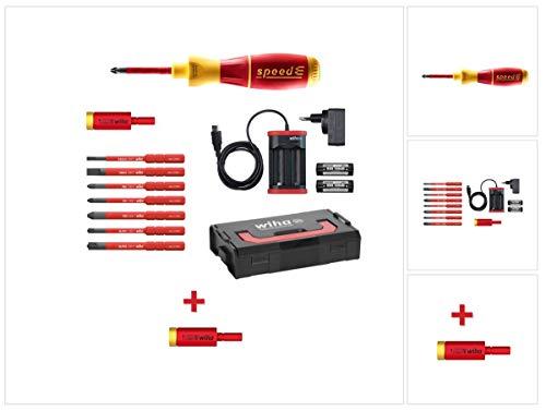 Wiha speedE® elektronischer Schraubendreher Set 2 + L-Boxx 13 tlg. + 2x 1,5 Ah Akku + Ladegerät + Bits + Torque Adapter 2,8 Nm (41912) + Torque Adapter 2,0 Nm (41342)