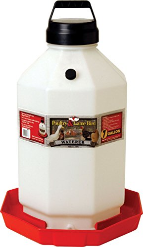 Little Giant PPF7 7 Gallon Capacity Hanging Automatic Poultry Waterer Dispenser for Chickens and Game Birds, Red
