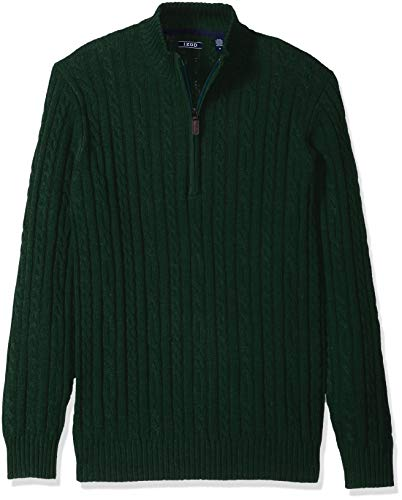 IZOD Men's Premium Essentials Solid Quarter Zip 7 Gauge Cable Knit Sweater, botanical garden, X-Large