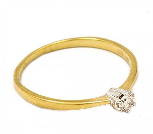 Alex-Super-Schmuck.de ASS{333} donna oro solitario anello con{1} thuppaki (brillant), 0,10 Ct oro anello, bianco e giallo, Bicolor, GR, 18 (){56}
