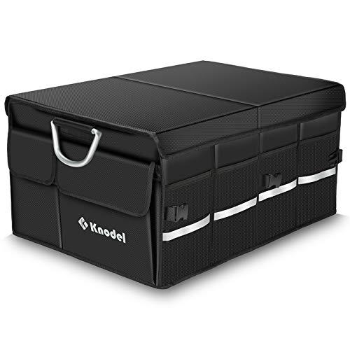 Knodel Car Trunk Organizer, Foldable Cover, Heavy Duty Collapsible Car Trunk Storage Organizer, Car Cargo Trunk Organizer with Lid (XL)