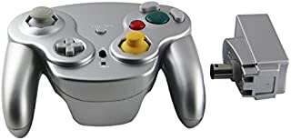 Wavebird Style Wireless Controller replacement for Gamecube Nintendo Wii by Mario Retro - Silver