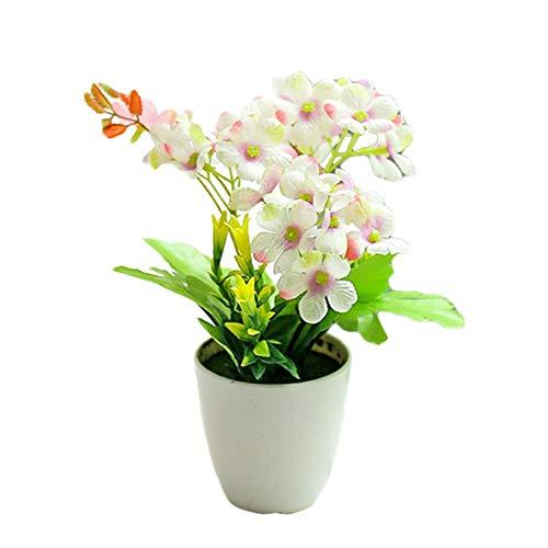 WUHUAROU Künstliche Pflanzen im Topf Kunstpflanzen Mini Blumen Bonsai Künstliche kleine Hortensie für Deko Hochzeit Büro Geschenk Balkon Wohnzimmer Haus Modern