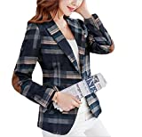 SELX Women Elbow Patch Casual Pockets Plaid Print Notch Lapel Blazer Coat Blue US M