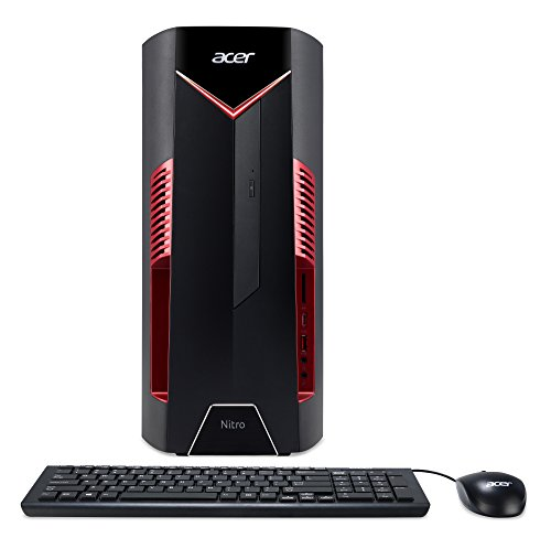 Acer Nitro 50 (N50-600) Desktop PC (Intel Core i5-8400, 16GB RAM, 128GB SSD, 2000GB HDD, NVIDIA GeForce GTX 1060 (6GB VRAM), Win 10 Home, inkl. USB Tastatur, USB Maus) schwarz/rot