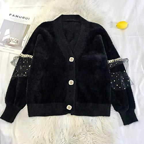 Golden_flower Modeimitation Pullover Jacke Frauen Locker Lässig Stil Frühling und Herbst Mode Einfach Gestrickt Strickjackeschwarz, Einheitsgröße