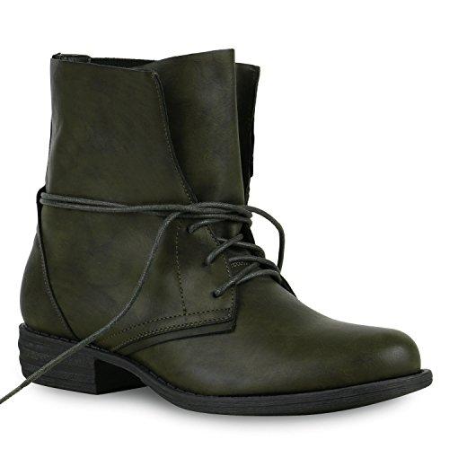 Damen Stiefeletten Worker Boots Stiefel Stiefel Schuhe 127492 Dunkelgrün Avion 38 Flandell