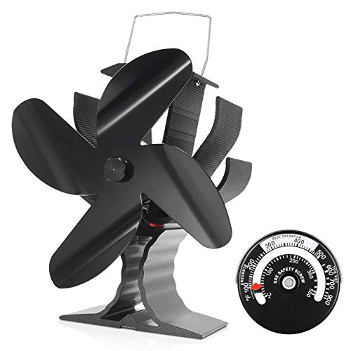 Signstek Heat Powered Stove Fan 4 Blade for Wood/Log Burner/Fireplace with Magnetic Thermometer, EF-145