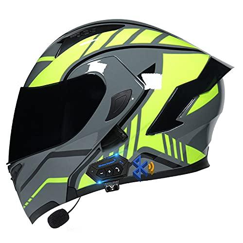 Casco Moto Apribile Bluetooth, Casco Modulare con Doppia Visiera, Casco da Moto Integrato Omologato ECE, Traspirante E Confortevole, per Adulti, Donne E Uomini