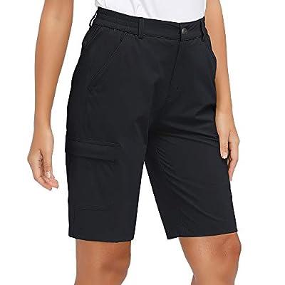Libin Women's Lightweight Hiking Shorts Quick Dry Cargo Shorts Summer Travel Camping Golf Shorts UPF 50 Water Resistant, Black L