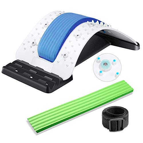 BSUDILOK Back Stretching Device,Multi-Level Lumbar Support Stretcher Spinal, Lower and Upper Muscle Pain Relief,Back Massager for Bed & Chair & Car(White/Blue/Green)