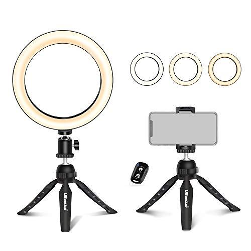 UBeesize 8inch/20cm 自撮りリングライト ミニ三脚スタンド&スマホホルダー付き ライブストリーミング/メイクアップ/YouTubeビデオ/写真撮影用 ミニLEDカメラリングライト iPhone Xs/iPhone Max/iPhone XR/Android適用