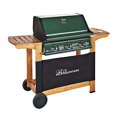 Elbrus 3 Burner Gas Barbecue - Green Steel with Wood