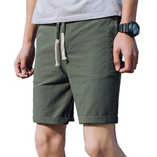 WSLCN Hommes Rétro Baggy Cargo Shorts Pantalon Court en Lin Coton Outdoor Casual Shorts Multi-Poches D FR 36 (Asie M)