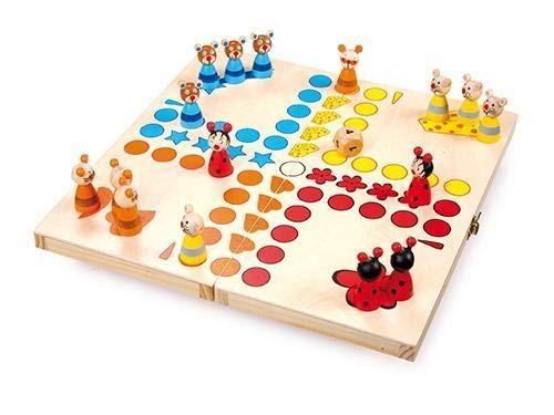 """small foot 7358 Ludo \""""Tiere\"""" aus Holz, Gesellschaftsspiel für Groß und Klein, mit Tierchen-Spielfiguren, ab 4 Jahren"""