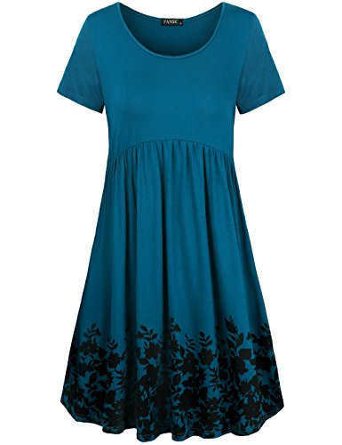 FANSIC Womens Long Sleeve Floral Printed Pleated Swing Midi Dress Short Sleeve with Pockets