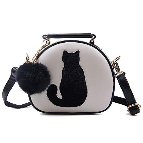 LUI SUI Frauen Pu-Leder Handtasche wasserdichte Nette Katze Tote Satchel Schulter Crossbody Tasche Top Brieftasche Geldbörsen Beige