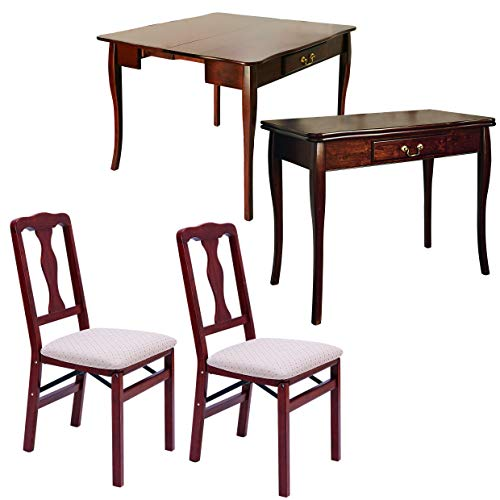 Burwells Home Expanding Dining Table With 2 Chairs - Extending Folding Console Side Hallway Unit Mahogany Table Top Set