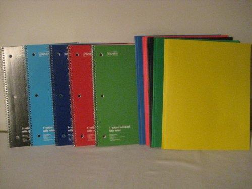 Heftklammern Note Book & Gratis 5Stück gratis Ordner sortiert Farben (5Pack)