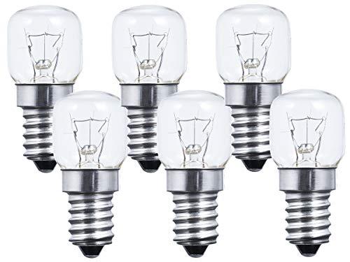 LEDLUX 6 Pezzi Lampadina Da Forno e Microonde E14 15W 230V 112 Lumen 2700K Resistente Alta Temperatura Fino a 300 Gradi