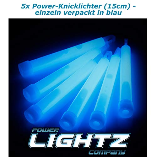 Power Lightz 5 Stück Power-Knicklichter (1,5 x 15 cm) in blau mit Haken und Befestigungsband, sehr robust und lange leuchtend für Outdoor, Freizeit, Camping, Tauchen oder Notlicht