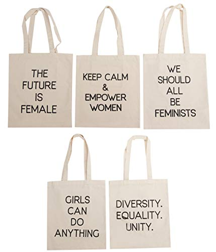 Feminist Tote Bags - 5-Pack Assorted Feminist Text Quotes Designs, 100% Cotton Canvas Reusable...