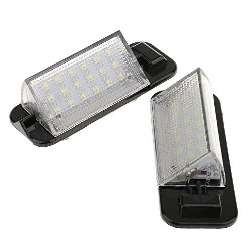 Par de Luces Traseras de Matrícula Soporte Cubierta de Licencia Negro 3528 SMD LED 12V Luz Accesorios Automóvil Plástico