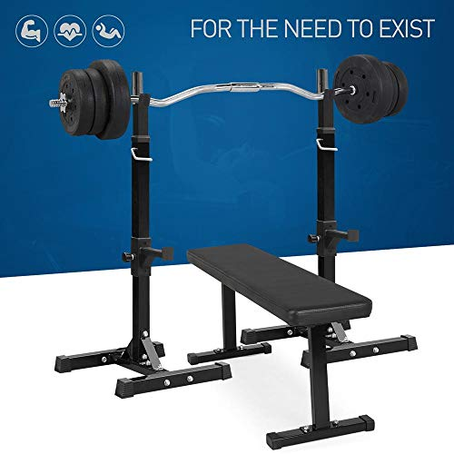YAHEETECH Barbell Weight Set - Olympic Curl Bar & 6 Olympic Weights & 2 Olympic Barbell Clamps for Lifts 55LB