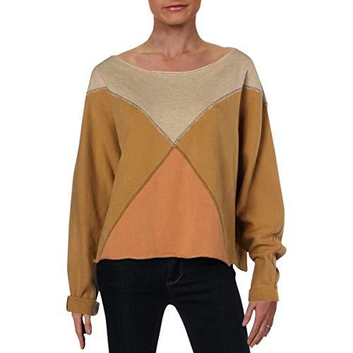 Free People Womens Raw Hem Colorblock Sweatshirt, Crew Yellow XS
