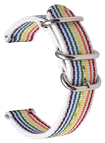 Lzpzz Correa de nailon para reloj de lona con interruptor de liberación rápida, correa de nailon de 20 mm, 22 mm, 24 mm (color: tiras blancas, hebilla plateada, tamaño: 20 mm)