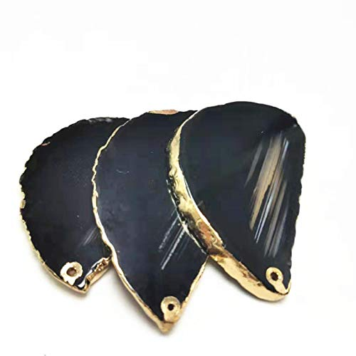 LeiLei Rebanadas de Piedra de ágata con Bordes de Color Dorado Natural Rebanada de ágata Negra-6 Piezas