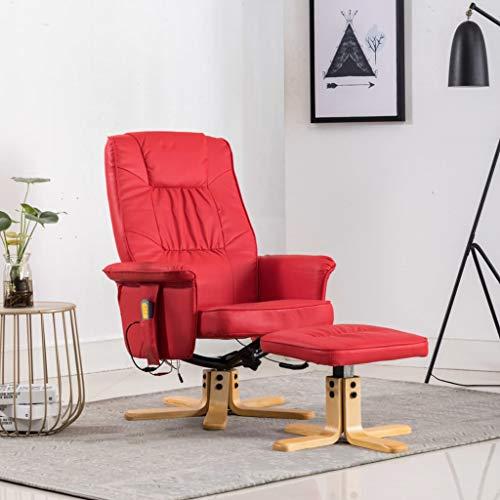 UnfadeMemory Massagesessel mit Fußhocker Massage Relaxsessel TV-Sessel Kunstleder Holzgestell Ruhesessel Entspannungssessel mit Wärmefunktion für Heimbüro oder Wohnzimmer (Rot)