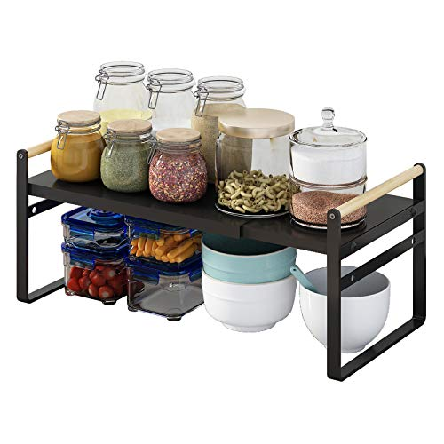 Apsan Expandable Kitchen Counter Organizer Shelf, Stackable Cabinet Organizer Shelf, Countertop Shelf for Cups, Dishes, Plates, Seasoning Bottles, Black