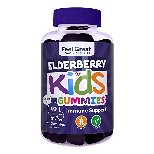 Feel Great Vitamin Co. Elderberry Gummies for Kids | Immune Support | Natural Antioxidant Immune Booster | With Vitamin C and Zinc | Gluten Free & Vegetarian | 90 Gummies