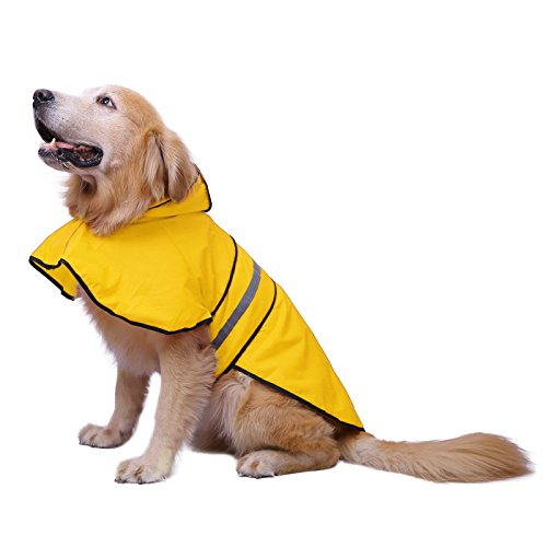 HDE Dog Raincoat Hooded Slicker Poncho for Small to X-Large Dogs and Puppies (Yellow, Large)