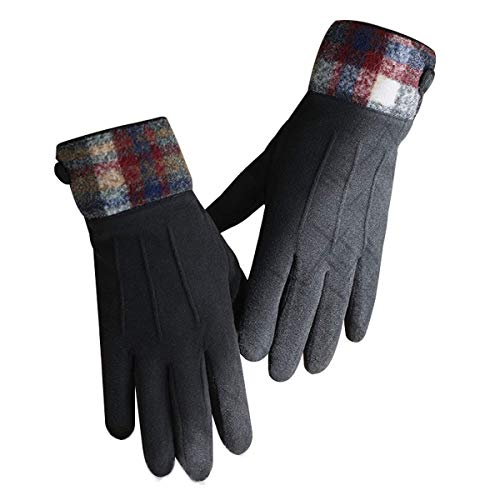 ZN-Home-Gloves Madame Hiver Chaud suède écran Tactile en Molleton Gants Doux-Doublure Doublure Gants de Conduite à SMS (Gants Pleine Longueur 23cm)