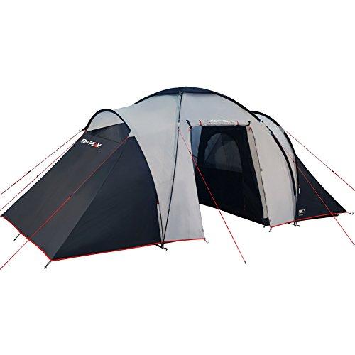 High Peak tent Como 4, lichtgrijs/donkergrijs/rood, L
