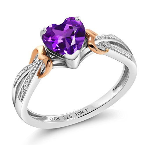 Gem Stone King 925 Sterling Silver and 10K Rose Gold Purple Amethyst and Diamond Women's Heart Shape Ring (0.66 Cttw Gemstone Birthstone) (Size 8)