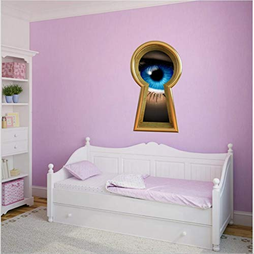 Alice Looking Through The Keyhole Wall Decal Adventures in Wonderland 3D Window View Wall Decals Funny Stickers Vinyl Sticker for Kids Bedroom Wall Art Medieval Decor