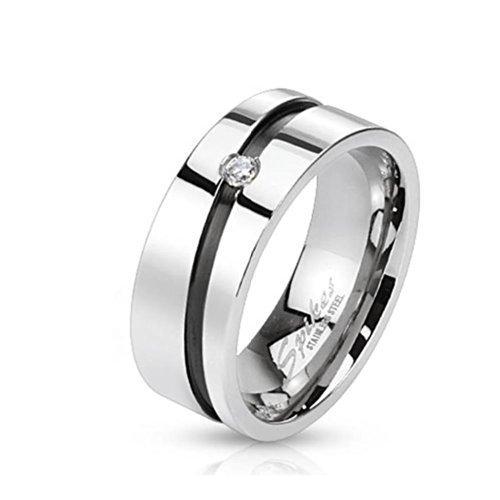 Tapsi´s Coolbodyart®   Anillo de dedo de acero inoxidable con circonitas,...