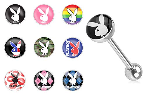 Forbidden Body Jewelry 14g Surgical Steel Playboy Graphic Tongue Piercing Barbell, Style 1 (Black/White)
