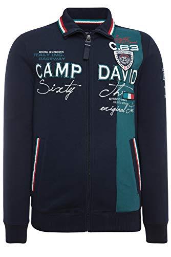 Camp David Herren Sweatjacke mit Farbstreifen und Artwork, Blue Navy, XL