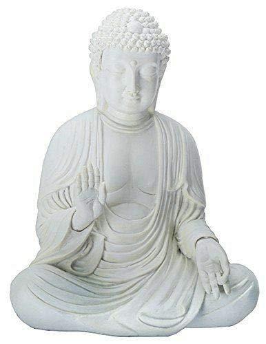 ShopForAllYou Figurines and Statues Amida Buddha Meditating Teaching Mudra Statue White, Resin 5.25' H