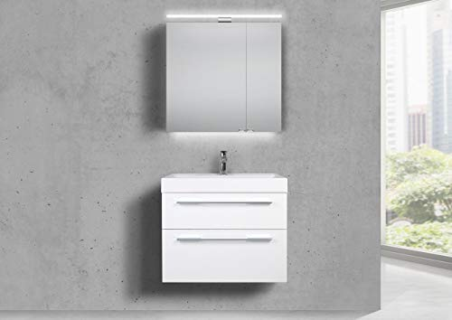 Intarbad ~ Badmöbel Set 70 cm Waschtisch Evermite, mit Spiegelschrank LED, weiß HG Lack Grau Matt Lack IB1185