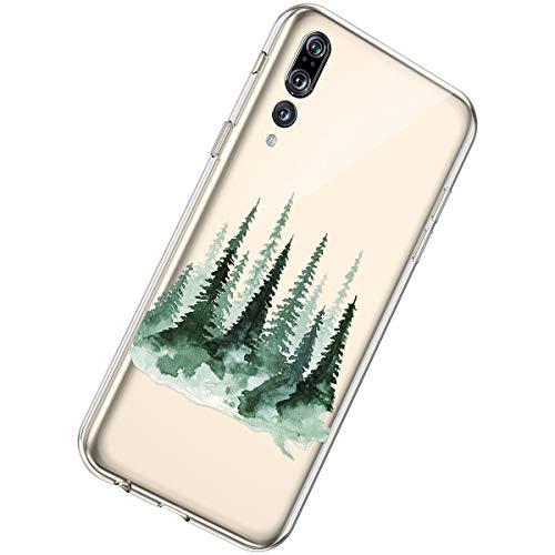 Herbests Kompatibel mit Huawei P20 Pro Handyhülle Transparent TPU Silikon Hülle Crystal Clear Case Durchsichtige Schutzhülle Kristall Klar Kratzfest Hülle Schutz Tasche,Baum