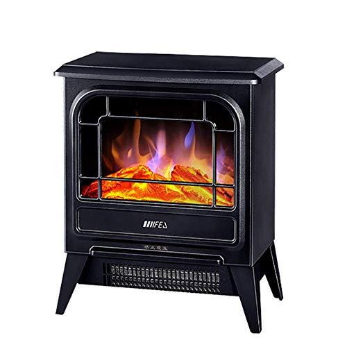 SYR&FJ Elektrischer Kamin • Kaminofen • Flammensimulation • 1800 Watt Leistung • 2 Hitze-Einstellungen (Schwarz)