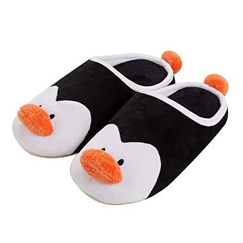 SHOESESTA Zapatillas de Estar por Casa Pingüino Pantuflas de Felpa Mujer Invierno Animales de Dibujos Animados Zapatos de Algodón Calidez Antideslizante Interior Ocio Zapatos de Piso-Black_37-38