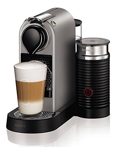 Krups Machine à café Nespresso xn760b Citiz & Milk avec Aeroccino, système de chauffage à thermobloc, réservoir à eau 1l, 19Bar, argent