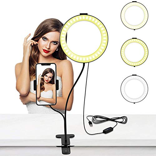 WJF0033GXY Selfie Ring Light with Phone Holder Stand,6 Inch Desktop Led ring light Dimmable 3 Colors & 10 Brightness for Live Streaming,Selfie, Makeup